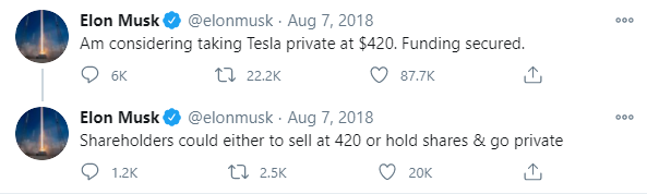 Elon Musk's tweet about taking the company private as an example of a market moving event