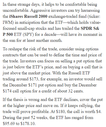 Beware of faulty options education example from Barron's by Steve Sears